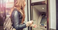 Woman using an ATM