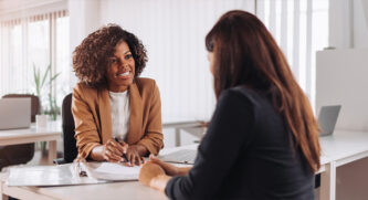 Two people conducting a job interview