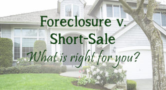 Foreclusre vs. Short sale, what is right for you text with a house in the background