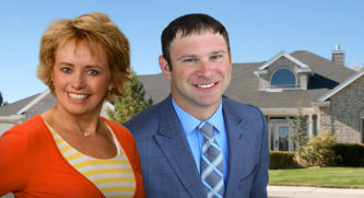 Kyle Swiden and Julie Brownell placed on top of an image of a house