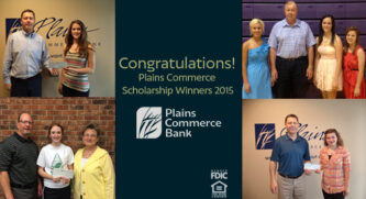 4 images of checks being handed to scholarship recipients