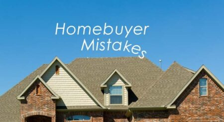 Homebuyer mistakes text with a house in the background