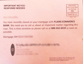 Photo of a scam mortgage postcard that was sent to mortgage customers